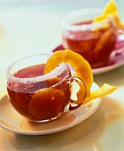 Red wine punch with pineapple