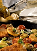 Fried vegetables and meat on Hot Stone