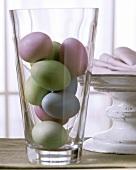 Easter eggs in glass vase