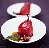 Poached red wine pear