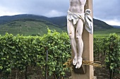 Christ on the cross in vineyard, Alsace, France