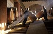 Arbeiter rollen Fässer im Weinkeller, Aconcaqua Valley, Chile