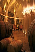 Wine barrels in cellar of Chateau Romanin, Provence