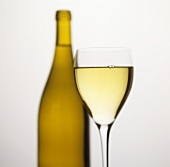 White wine glass in front of unlabelled white wine bottle