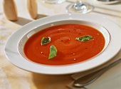 Tomato and carrot soup with basil