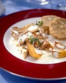 Creamed ceps with napkin dumplings