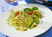 Curly endive with avocado and sprouts