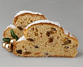 Two slices of Christmas stollen