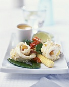 Stuffed sole rolls with vegetables