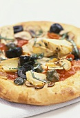 Pizza Capricciosa (with olives, capers, artichokes & mushrooms)