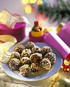 Christmas chocolates: chocolate coconut balls