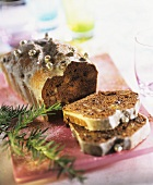 Spiced cake for Christmas with raisins and nuts