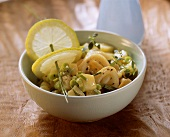 Potato salad with cuttlefish and beans