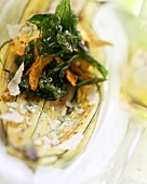 Barbecued courgette slices with basil and Parmesan