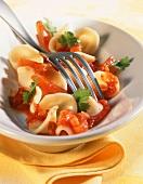Orecchiette al pomodoro (Orecchiette with tomato sauce)