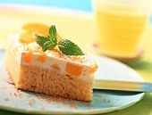 Piece of Fanta cake with peaches