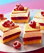 Butter biscuits slices with red fruit compote