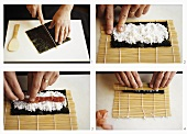 Making maki-sushi, part 1: spreading & rolling the nori sheet