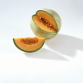 Cantaloupe melon, a quarter cut out