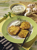 Three pancake rostis with garlic quark
