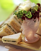 Small rocket & sesame sandwiches, Easter decoration