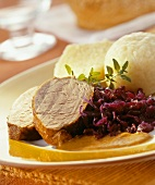 Wild boar with red cabbage and potato dumplings