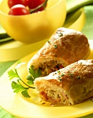 Puff pastry rolls filled with cabbage and sausage