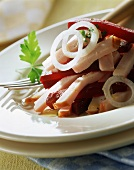 Meat salad with beetroot, with oil and vinegar dressing