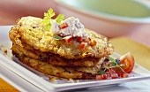 Potato and leek pancake with cottage cheese & tomato dip
