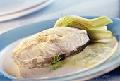Poached haddock with creamy fennel sauce