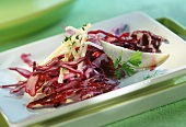 Lightly marinated raw red cabbage salad