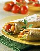 Wraps with salad and vegetable filling