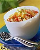 Spaghetti salad with tomatoes, mozzarella and pineapple