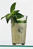 A glass of Aryan (Turkish yoghurt drink), garnished with mint