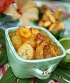 Caribbean sweet potato gratin with plantains