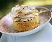 Coconut flan with pistachios (from Sri Lanka)