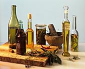 Still life with choice oils, herbs an spices