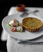 Lettuce with crème fraiche and herb tartlet