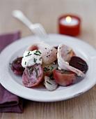 Marinated fish fillets & creamed horseradish on vegetable salad