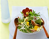 Mixed salad leaves with edible flowers