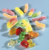 Fruit- and winegums in various colours and shapes
