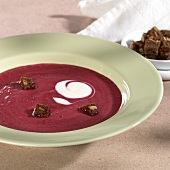Beetroot soup with wholemeal bread cubes and sour cream