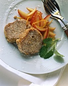 Quark potato cakes with cinnamon sugar & nectarine sauce
