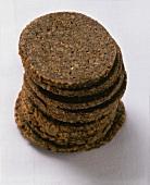 Round slices of Pumpernickel (dark wholemeal bread)