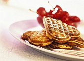 Marzipan waffles with cherry compote
