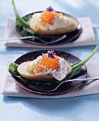 Potato halves with crème fraiche and trout caviare