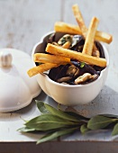 Belgian speciality: mussels with chips