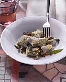 Gnocchi agli spinaci (spinach gnocchi with Parmesan)