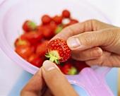 Hulling a strawberry
