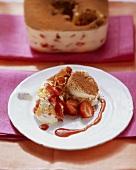 Strawberry tiramisu with chocolate curls